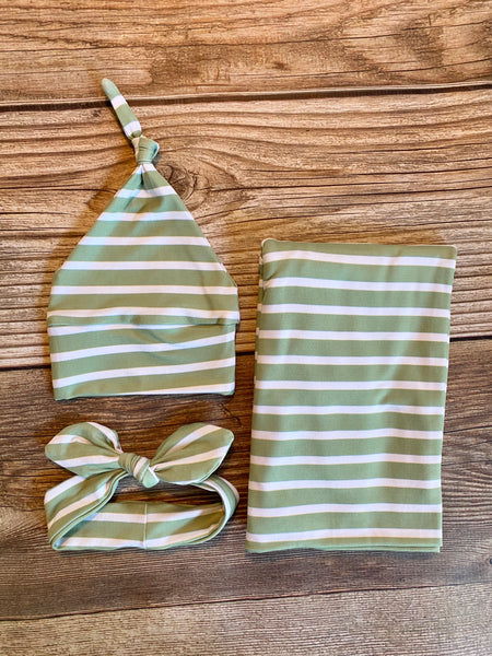 The Sage Stripe Swaddle Set - Josie and James