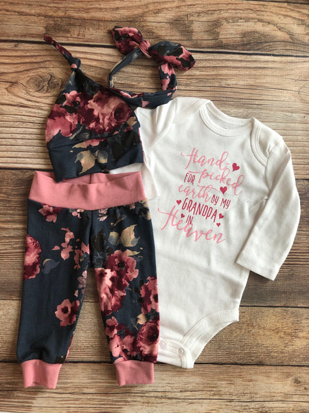 Handpicked Nora Floral Newborn Outfit, Baby Name Outfit - Josie and James