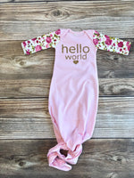 Hello World Gold Glitter and Floral Baby Gown - Josie and James