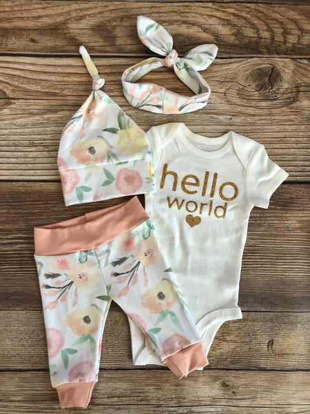 Hello World Madison Floral Newborn Outfit - Josie and James