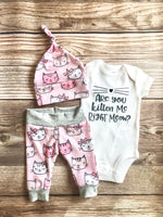 Kitten Me Right Meow Newborn Outfit - Josie and James