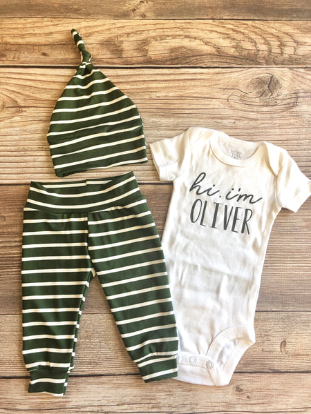 Baby Name Olive Stripe Newborn Coming Home Outfit - Josie and James