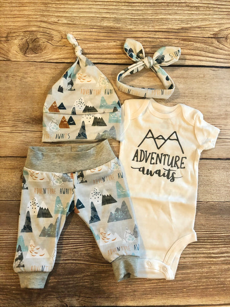 Adventure Awaits Newborn Outfit - Josie and James