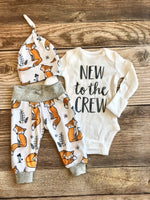 New to the crew Orange Fox Newborn Coming Home Outfit