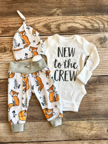 New to the crew Orange Fox Newborn Coming Home Outfit - Josie and James