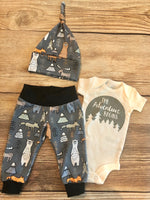 Charcoal Woodland Newborn Coming Home Outfit - Josie and James