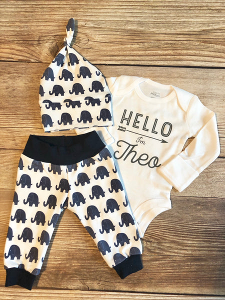Navy Elephant Newborn Outfit - Josie and James