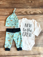 New to the Crew Airplane Newborn Outfit