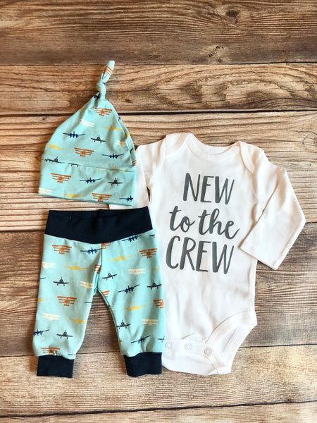 New to the Crew Airplane Newborn Outfit - Josie and James