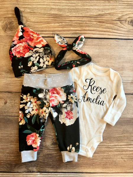 Isabelle Floral Newborn Outfit, newborn outfit, baby girl - Josie and James