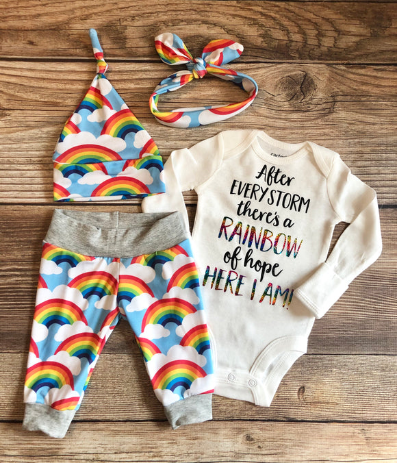 After Every Storm Rainbow of Hope, Newborn Outfit, Rainbow Baby, Coming Home Outfit