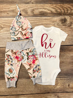 Sawyer Floral, Newborn Coming Home Outfit