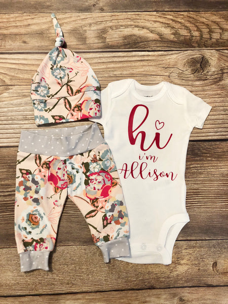 Sawyer Floral, Newborn Coming Home Outfit - Josie and James