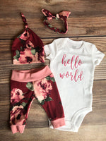 Holly Floral Hello World Newborn Outfit , Holly Floral Newborn Coming Home Outfit - Josie and James