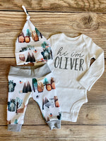 Forest Friends Newborn Coming Home Outfit, woodland, animals - Josie and James