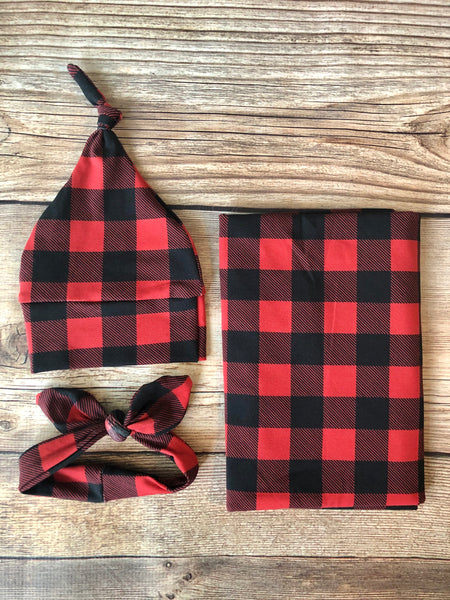 Red and Black Buffalo Plaid Swaddle Set - Josie and James