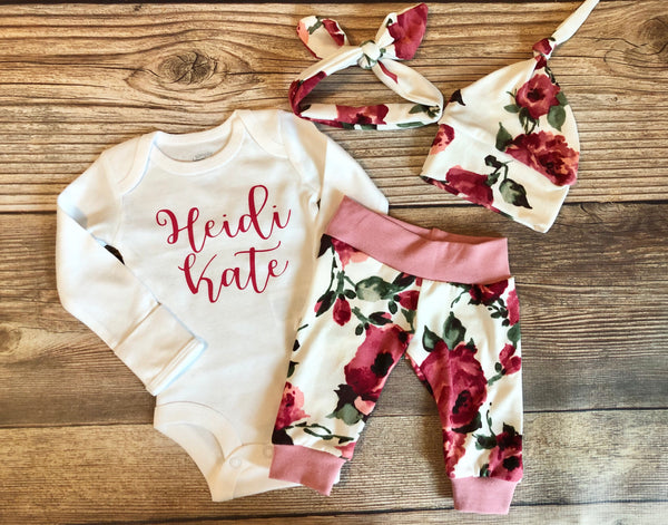 Harper Floral Coming Home Outfit , custom name - Josie and James