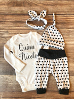 Black and White Heart Newborn Girl Outfit - Josie and James