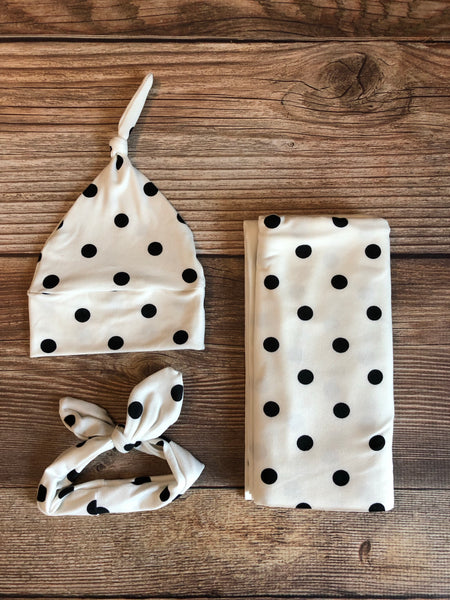 The Audrey Polka Dot Swaddle Set