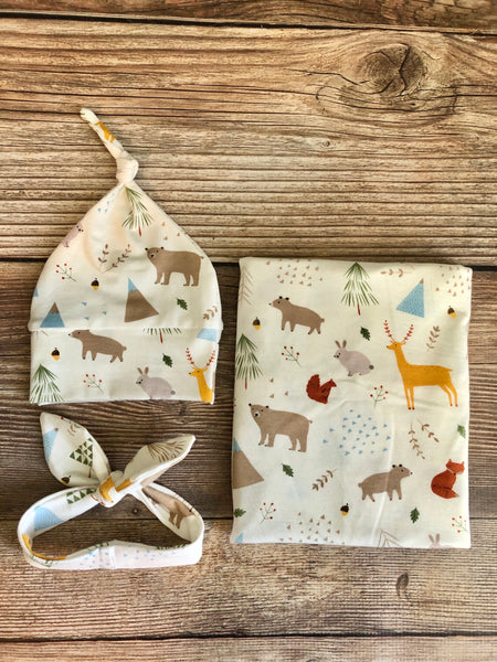 White Woodland Swaddle Set - Josie and James