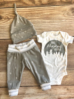 The Adventure Begins Gray Chevron Newborn Coming Home Outfit - Josie and James