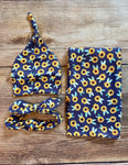 Navy Sunflower Swaddle Set