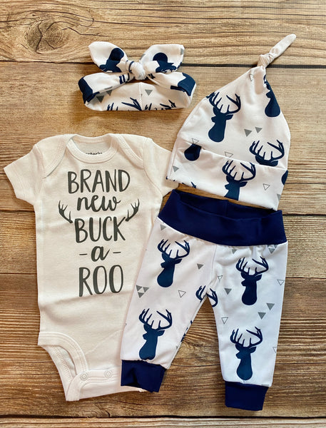 Brand new Buck a Roo White and Navy buck newborn outfit
