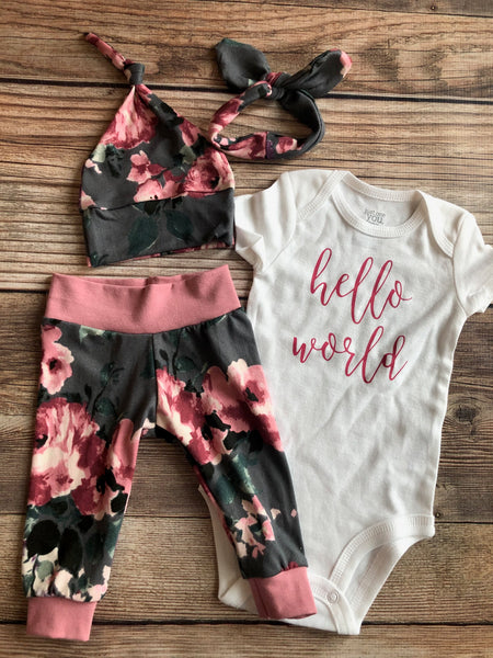 Hello World Dora Floral Newborn Outfit, Baby Name Outfit - Josie and James