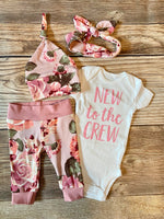 Kathleen floral newborn outfit,new to the crew - Josie and James