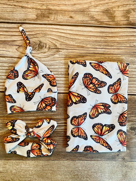 The Monarch Floral Swaddle Set, butterfly - Josie and James