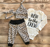 New to the Crew Leopard Print Coming home Outfit - Josie and James