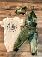 New Here Sage Green Tie Dye Newborn Outfit - Josie and James