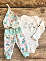 Mint and Pink Dino Newborn Outfit, Silver name, dinosaur - Josie and James