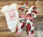 Handpicked for Earth by my Grandpa in Heaven, Newborn outfit, Harper Floral Newborn Coming Home Outfit - Josie and James