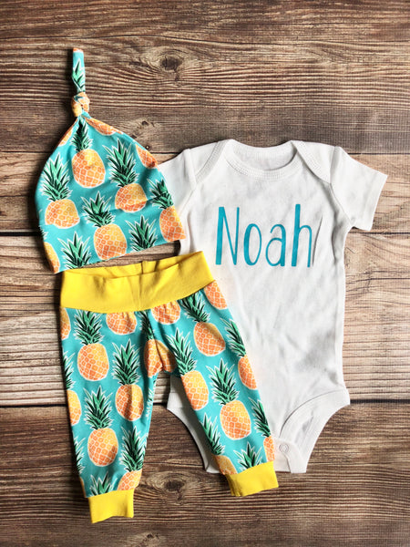 Blue Pineapple Coming Home Outfit, Newborn Outfit - Josie and James