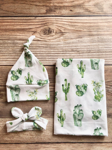 Cactus Swaddle Set, gender neutral - Josie and James