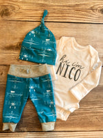 Hi I'm Teal Airplane Newborn Outfit - Josie and James