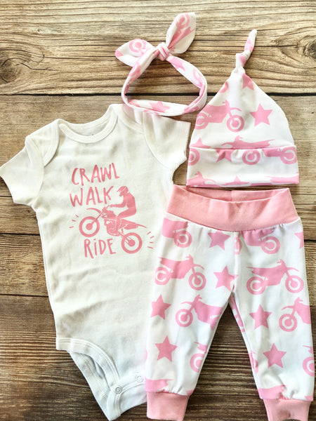 Crawl walk ride dirt bike pink Newborn Girl Outfit - Josie and James
