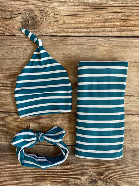 Turquoise stripe Swaddle Set