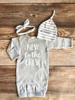 Gray New to the Crew Newborn Gown, Gender neutral, gray stripe - Josie and James