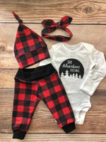 The Adventure Begins Red and Black Buffalo Plaid Outfit - Josie and James