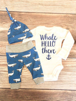 Whale Hello There, blue whale Newborn Outfit - Josie and James