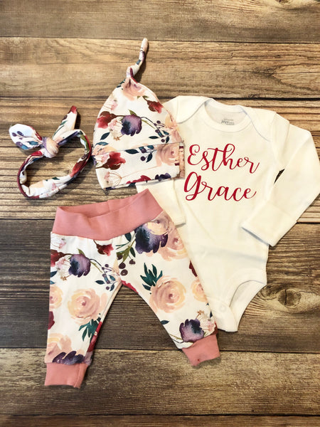 Cream and Crimson Floral Newborn Coming Home Outfit - Josie and James