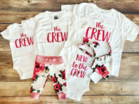 The Crew - Sibling Shirt, White with magenta text - Josie and James