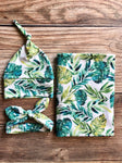 Palm Leaf Swaddle Set, gender neutral - Josie and James