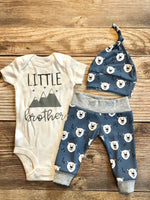 Little brother polar bear newborn outfit - Josie and James