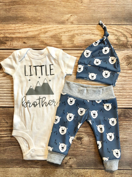 Little brother polar bear newborn outfit