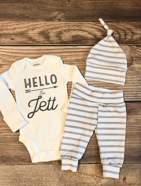 Gray and White Stripe Custom Name Newborn Outfit