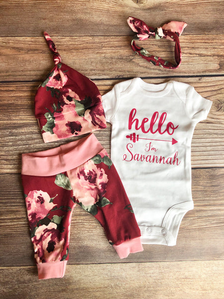 Holly Floral Hello I'm baby name Newborn Outfit , Holly Floral Newborn Coming Home Outfit - Josie and James