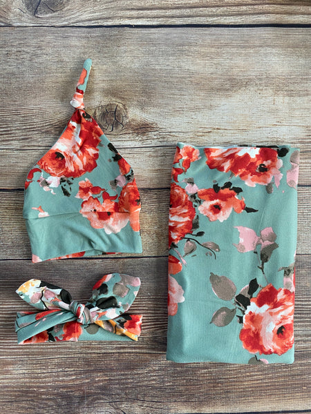 Juniper Floral Swaddle Set - Josie and James